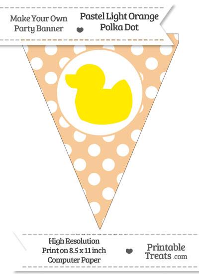 Pastel Light Orange Polka Dot Pennant Flag with Duck Facing Left Download from PrintableTreats.com