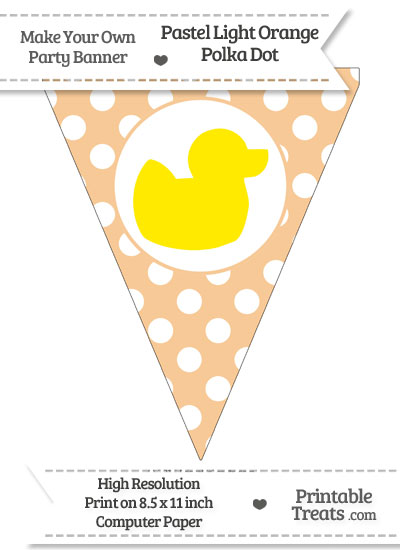 Pastel Light Orange Polka Dot Pennant Flag with Duck Facing Right Download from PrintableTreats.com
