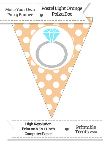 Pastel Light Orange Polka Dot Pennant Flag with Engagement Ring Download from PrintableTreats.com