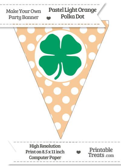 Pastel Light Orange Polka Dot Pennant Flag with Four Leaf Clover Facing Right Download from PrintableTreats.com