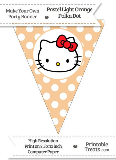 Pastel Light Orange Polka Dot Pennant Flag with Hello Kitty Download from PrintableTreats.com