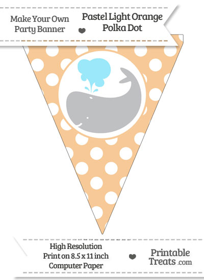 Pastel Light Orange Polka Dot Pennant Flag with Whale Facing Left Download from PrintableTreats.com