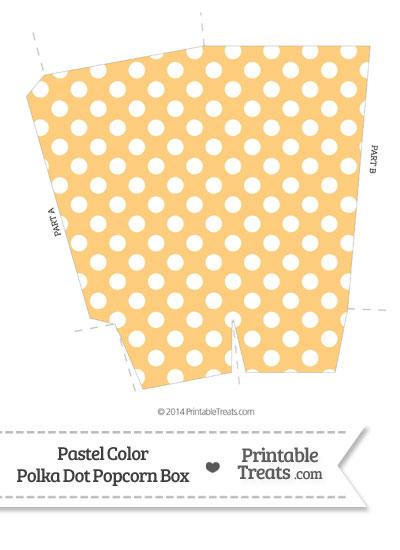 Pastel Light Orange Polka Dot Popcorn Box from PrintableTreats.com