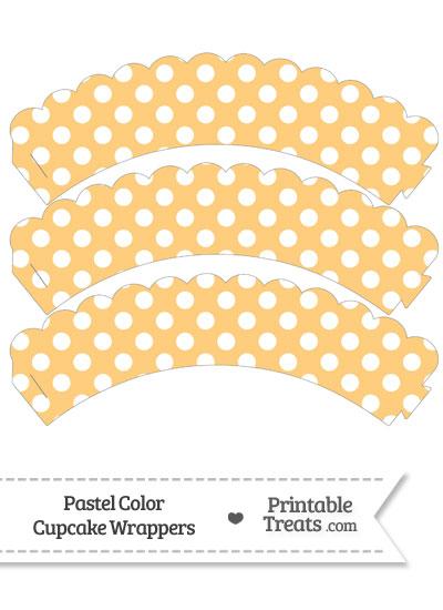 Pastel Light Orange Polka Dot Scalloped Cupcake Wrappers from PrintableTreats.com