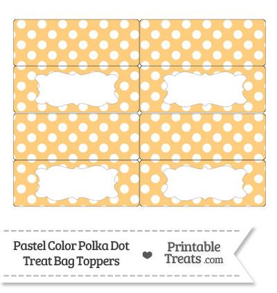 Pastel Light Orange Polka Dot Treat Bag Toppers from PrintableTreats.com