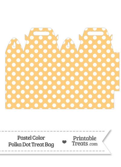 Pastel Light Orange Polka Dot Treat Bag from PrintableTreats.com