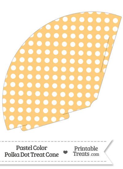 Pastel Light Orange Polka Dot Treat Cone from PrintableTreats.com