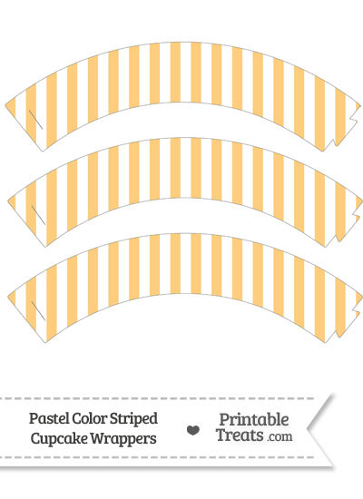 Pastel Light Orange Striped Cupcake Wrappers from PrintableTreats.com