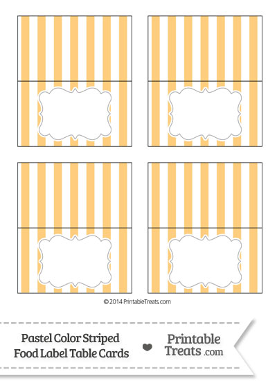 Pastel Light Orange Striped Food Labels from PrintableTreats.com
