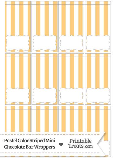 Pastel Light Orange Striped Mini Chocolate Bar Wrappers from PrintableTreats.com