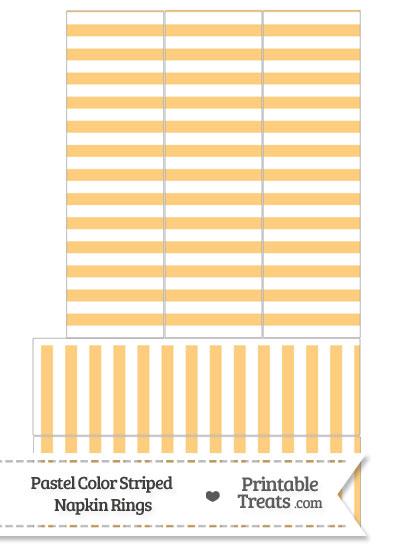 Pastel Light Orange Striped Napkin Rings from PrintableTreats.com