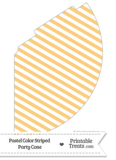 Pastel Light Orange Striped Party Cone from PrintableTreats.com