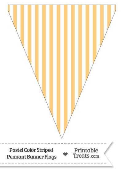 Pastel Light Orange Striped Pennant Banner Flag from PrintableTreats.com