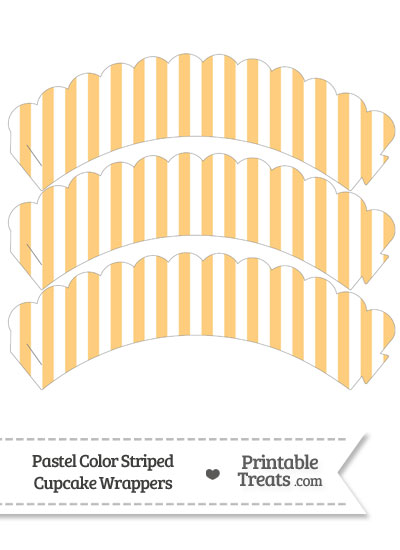 Pastel Light Orange Striped Scalloped Cupcake Wrappers from PrintableTreats.com