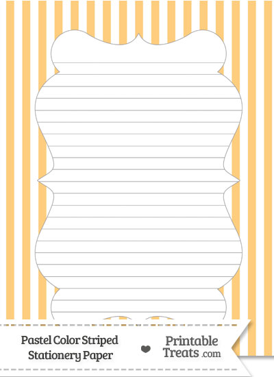 Pastel Light Orange Striped Stationery Paper from PrintableTreats.com