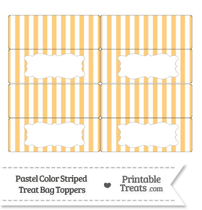 Pastel Light Orange Striped Treat Bag Toppers from PrintableTreats.com