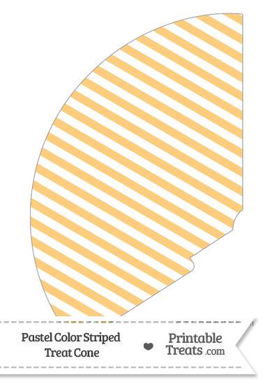 Pastel Light Orange Striped Treat Cone from PrintableTreats.com