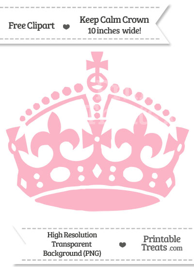 Pastel Light Pink Keep Calm Crown Clipart from PrintableTreats.com