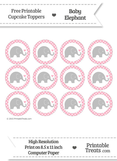 Pastel Light Pink Polka Dot Baby Elephant Cupcake Toppers from PrintableTreats.com