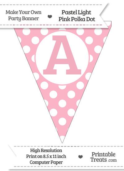 Pastel Light Pink Polka Dot Pennant Flag Capital Letter A from PrintableTreats.com