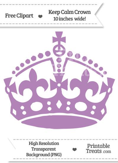 Pastel Light Plum Keep Calm Crown Clipart from PrintableTreats.com