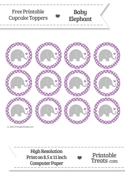 Pastel Light Plum Polka Dot Baby Elephant Cupcake Toppers from PrintableTreats.com