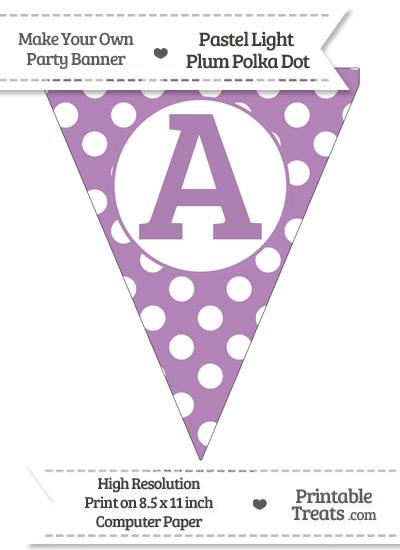 Pastel Light Plum Polka Dot Pennant Flag Capital Letter A from PrintableTreats.com