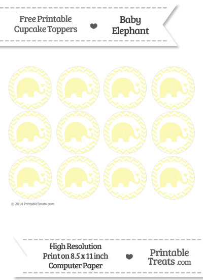 Pastel Light Yellow Baby Elephant Chevron Cupcake Toppers from PrintableTreats.com
