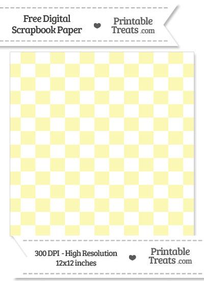 Pastel Light Yellow Checkered Pattern Digital Paper from PrintableTreats.com