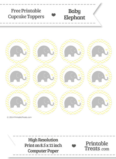 Pastel Light Yellow Chevron Baby Elephant Cupcake Toppers from PrintableTreats.com