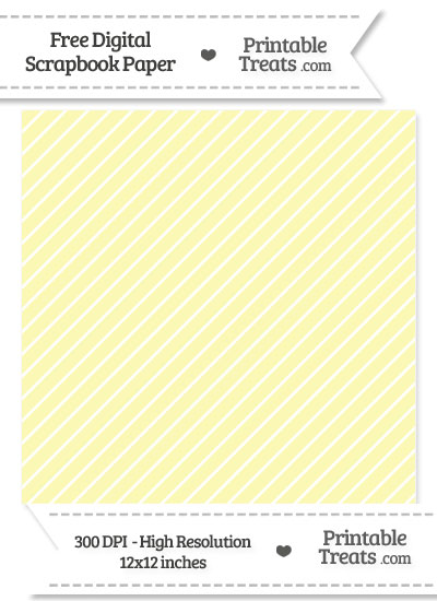 Pastel Light Yellow Diagonal Candy Striped Digital Paper from PrintableTreats.com