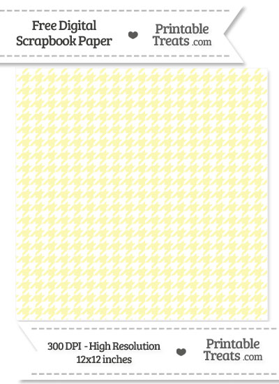 Pastel Light Yellow Houndstooth Digital Paper from PrintableTreats.com