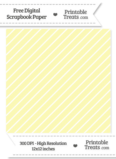 Pastel Light Yellow Large Diagonal Candy Striped Digital Paper from PrintableTreats.com
