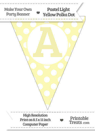 Pastel Light Yellow Polka Dot Pennant Flag Capital Letter A from PrintableTreats.com