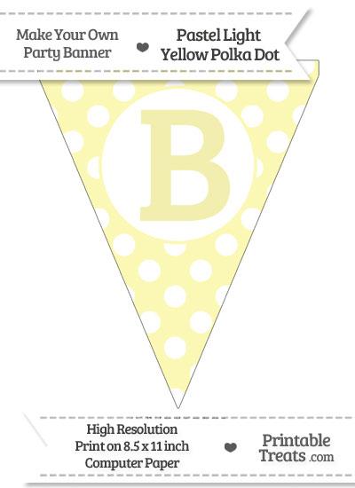 Pastel Light Yellow Polka Dot Pennant Flag Capital Letter B from PrintableTreats.com