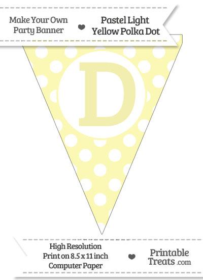 Pastel Light Yellow Polka Dot Pennant Flag Capital Letter D from PrintableTreats.com