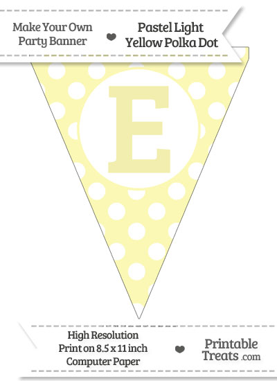 Pastel Light Yellow Polka Dot Pennant Flag Capital Letter E from PrintableTreats.com