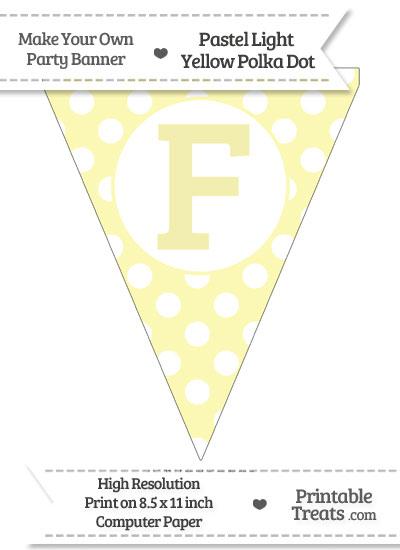 Pastel Light Yellow Polka Dot Pennant Flag Capital Letter F from PrintableTreats.com