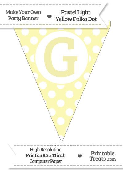 Pastel Light Yellow Polka Dot Pennant Flag Capital Letter G from PrintableTreats.com