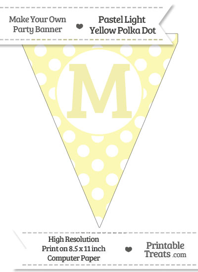 Pastel Light Yellow Polka Dot Pennant Flag Capital Letter M from PrintableTreats.com
