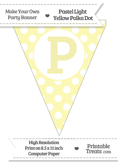 Pastel Light Yellow Polka Dot Pennant Flag Capital Letter P from PrintableTreats.com