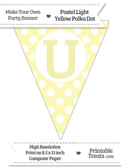 Pastel Light Yellow Polka Dot Pennant Flag Capital Letter U from PrintableTreats.com