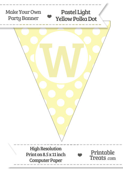 Pastel Light Yellow Polka Dot Pennant Flag Capital Letter W from PrintableTreats.com
