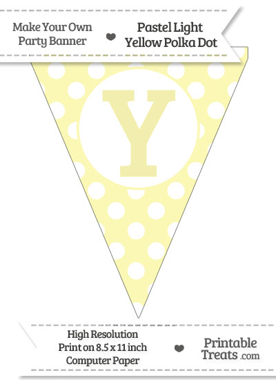 Pastel Light Yellow Polka Dot Pennant Flag Capital Letter Y from PrintableTreats.com
