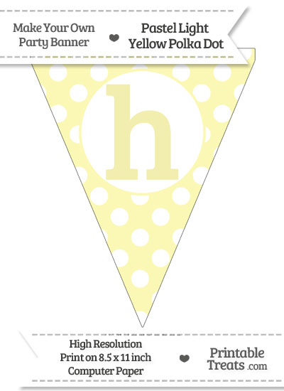 Pastel Light Yellow Polka Dot Pennant Flag Lowercase Letter H from PrintableTreats.com