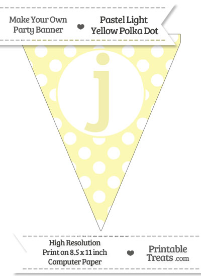 Pastel Light Yellow Polka Dot Pennant Flag Lowercase Letter J from PrintableTreats.com