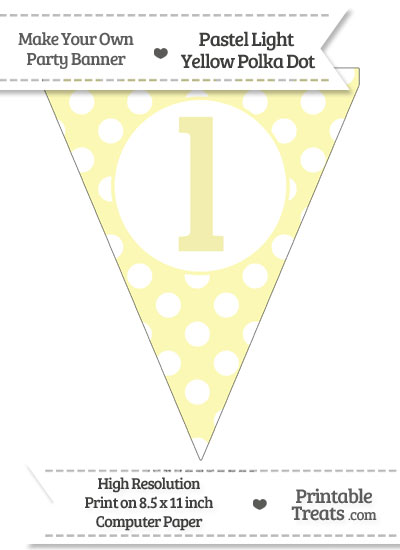 Pastel Light Yellow Polka Dot Pennant Flag Lowercase Letter L from PrintableTreats.com