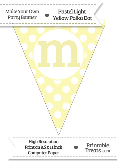 Pastel Light Yellow Polka Dot Pennant Flag Lowercase Letter M from PrintableTreats.com