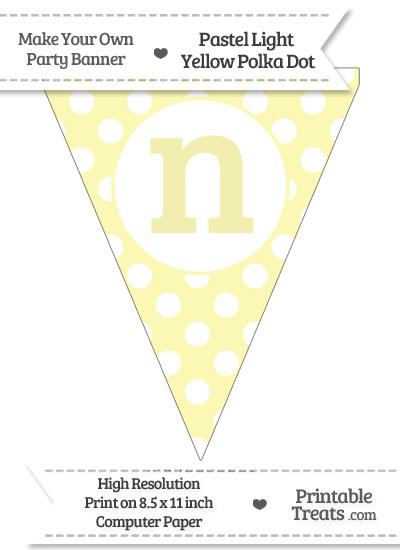 Pastel Light Yellow Polka Dot Pennant Flag Lowercase Letter N from PrintableTreats.com