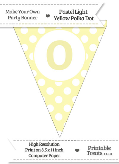 Pastel Light Yellow Polka Dot Pennant Flag Lowercase Letter O from PrintableTreats.com